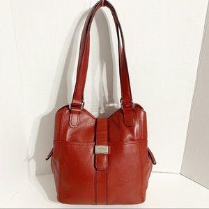 Tignanello Leather Tote Shoulder Bag Side Pockets